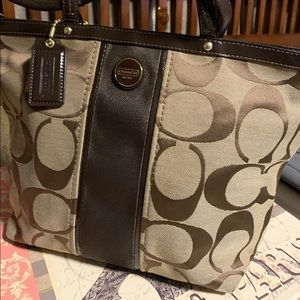 Coach Logo Brown Fabric bag